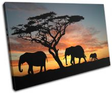Elephants African Sunset Animals - 13-2009(00B)-SG32-LO
